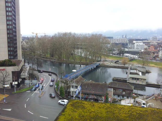 View from my window at EMA house - where Zurich's two rivers join