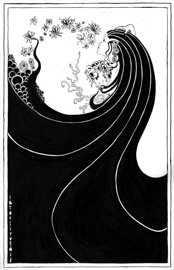 Beardsley-inspired ink poster by Steven Huntington from www.behance.net/gallery/7198651/Aubrey-Beardsley-Poster