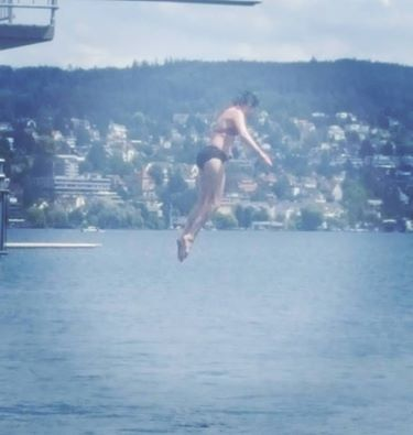 Me diving into the Zurichsee. Photo: Katy Albany