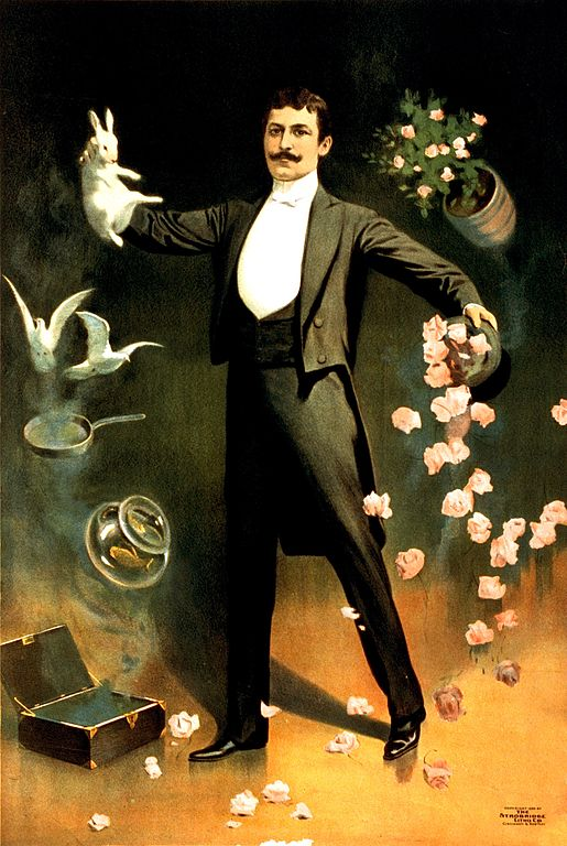Zan Zig performing with rabbit and roses, including hat trick and levitation. 1899 advertising poster for the magician (who seems to have left no other trace behind) . Copyrighted by The Strobridge Litho. Co., Cincinnati & New York. Source: https://commons.wikimedia.org/wiki/File:Zan_Zig_performing_with_rabbit_and_roses,_magician_poster,_1899.jpg
